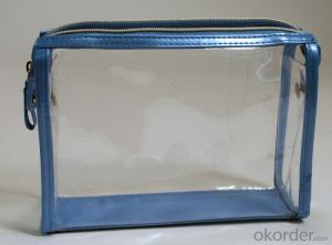 Clear Zippered Vinyl Portable PVC Cosmetic Bags