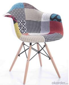 plastic chair High quality Mordern design Cheap multi-colors fabric patchwork  with wood legs