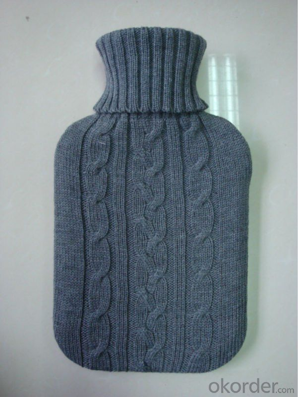 Rubber Hot Water Bottle with Knitted Cover