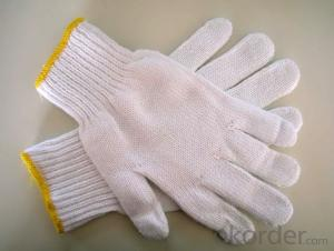 Semless natural white cotton knitted protective gloves