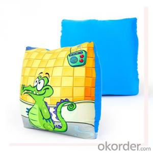 Cute Square  Beads Pillow with Cartoon Priting
