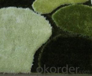 Soft Shaggy Carpet of Thick Yarn Polyester Green Handmade