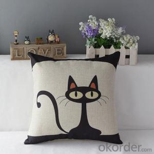 Square  Beads Pillow with Simple Cat Printing