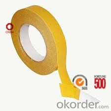 Double Sided Tissue Tape 90 Micron Yellow Color Solvent Based Acrylic