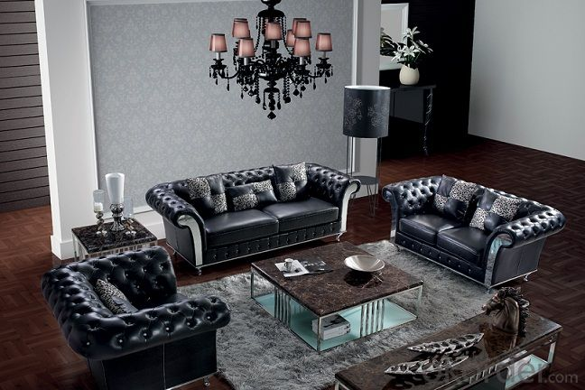 Genuine Leather Sofa, Classic Design,Crystal Button
