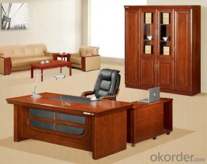 Useful Classic Design Wooden Office Executive Table with Side Cabinet