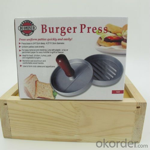 BBQ Hamburger Press /Meat Press with Wood Handle