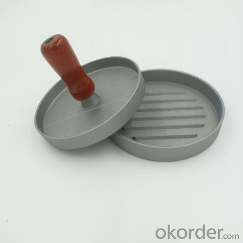 Mini Single Hamburger Press Aluminum Burger Press with Wood Handle