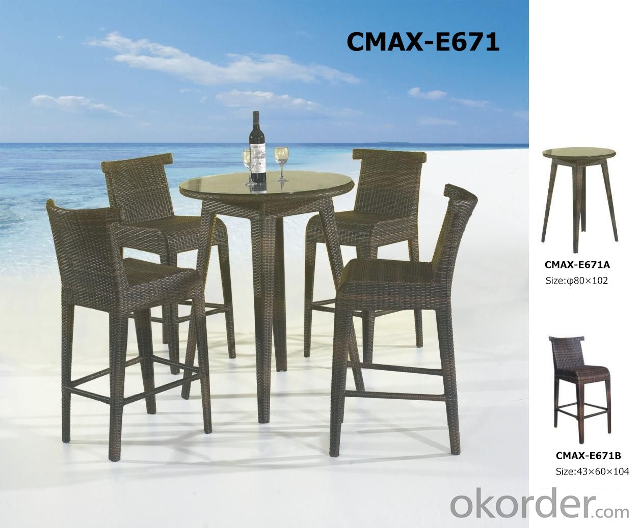 Garden Outdoor Furniture for Resturant Two Sides Chair CMAX-E672