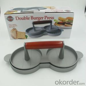 Manual Cast Aluminum Double Hamburger Patty Press Burger Presser
