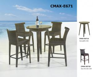 Aluminum Frame PE Rattan Outdoor Furniture Bar Sets CMAX-E623