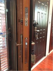 steel security door/Simple design/ high quality/ low price/ black scrub coating security door