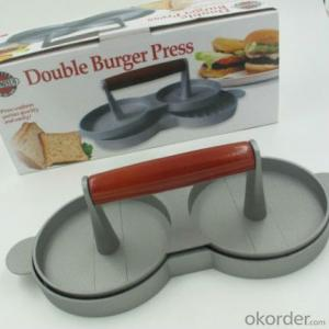 Cast Aluminum Double Hamburger Press with Two Holes