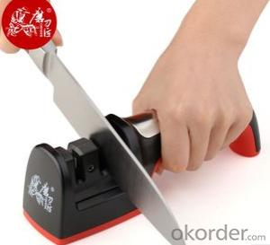 Steel/Ceramic Kitchen Knife Sharpener with Two Stages