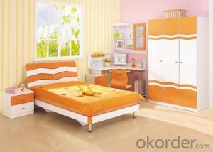 Green Material White Color Children Bed Whole Set Bed/ Wardrobe/Study Desk/Bedside Table