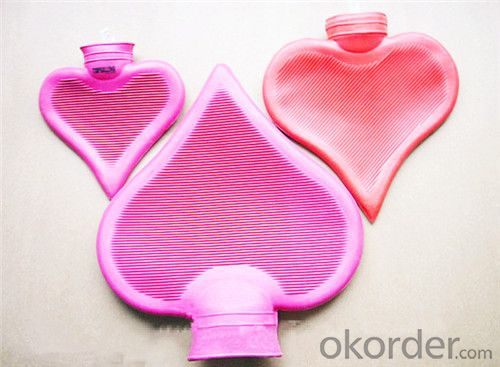 Rubber Heart-shaped Hot Water Bottle 1000ml Particular BS Quality
