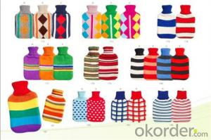 Medical Rubber Hot Water Bottle with Knitted Cover 2000ml 2 Side Rip