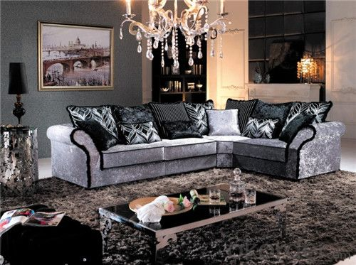 Living Room Sofa Set Fabric Material Velour Model 825