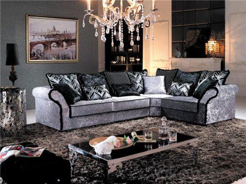 Living Room Sofa Set Fabric Material Velour Model 825