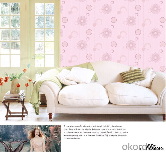 Non-woven Wallpaper Eco-friendly Breathing for Bedroom