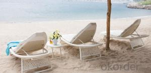 Hotel Pool Side  Wicker Sunbed for Beach Sun Lounger in Rattan
