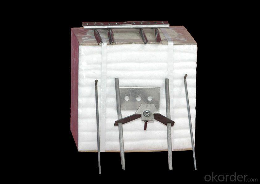 Ceramic fiber module for refractory furnace lining