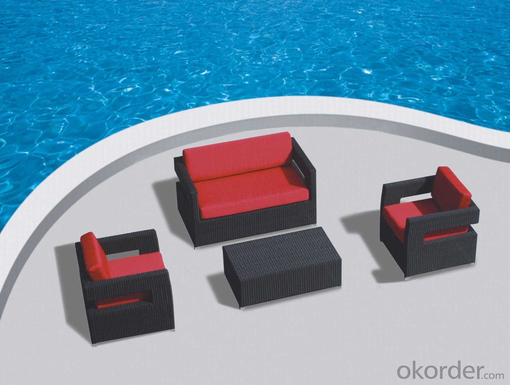 Black Rattan Garden Sofa with Seat & Back Cushion  CMAX-YT018