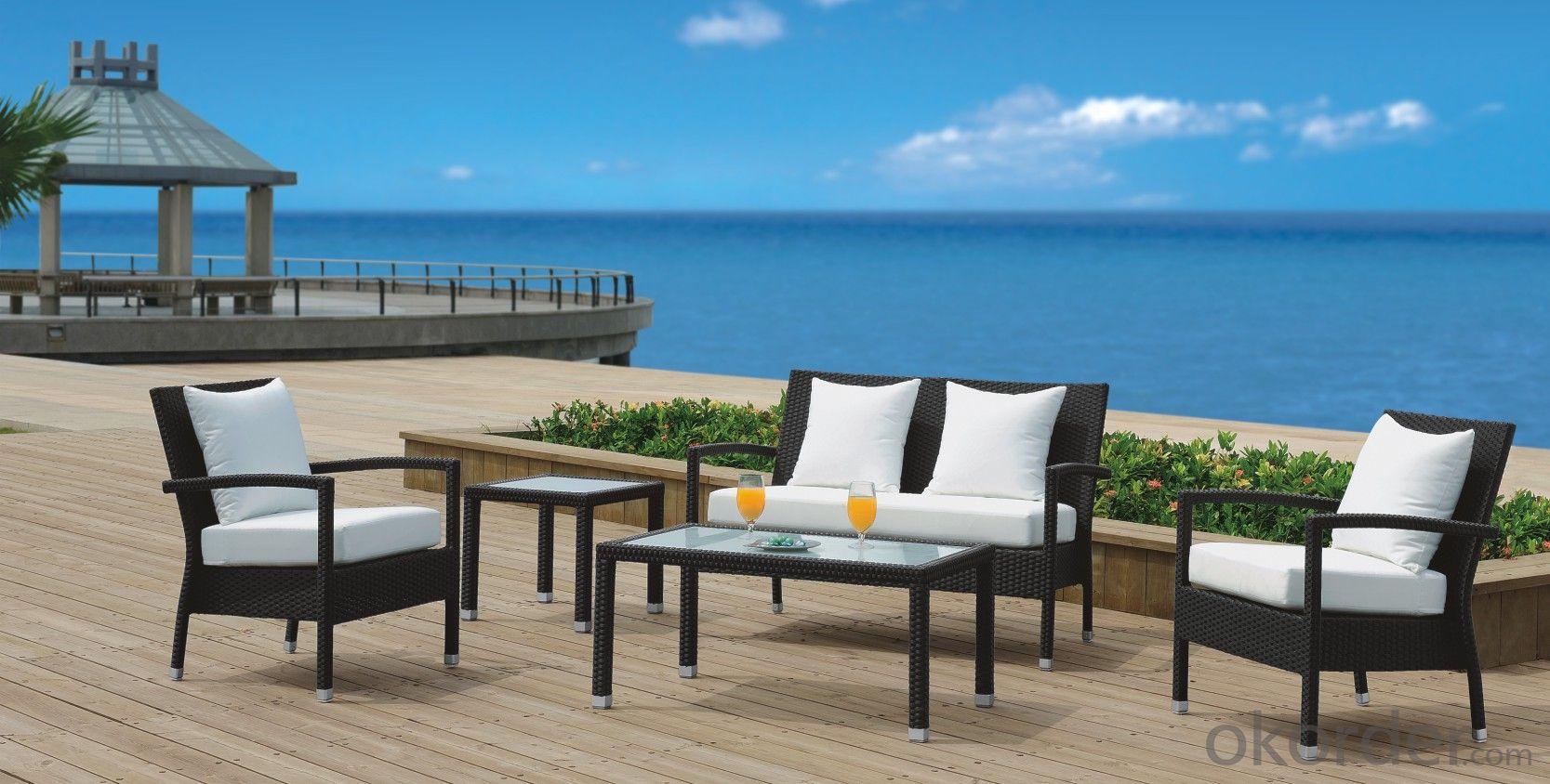 PE Rattan Garden Sofa with Seat & Back Cushion  CMAX-YT019