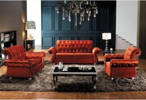 Modern Style Chesterfield Sofa of Fabric Material