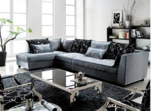 Plush Fabric Chaise Sofa for Living room