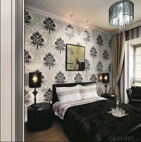PVC Wallpaper Embossed Geometric Dining Room Black Floral for Living Room