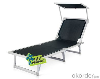 Black Leisure Textilene Stainless Steel Folding Beach Bed/ Sun Lounger CMAX-SLW0008WT