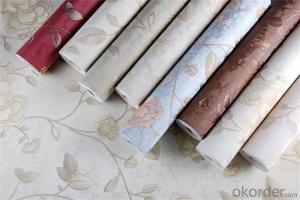 PVC Wallpaper Vinyl Deep Embossed Natural Flower Designer Wallpaper 3d Effect