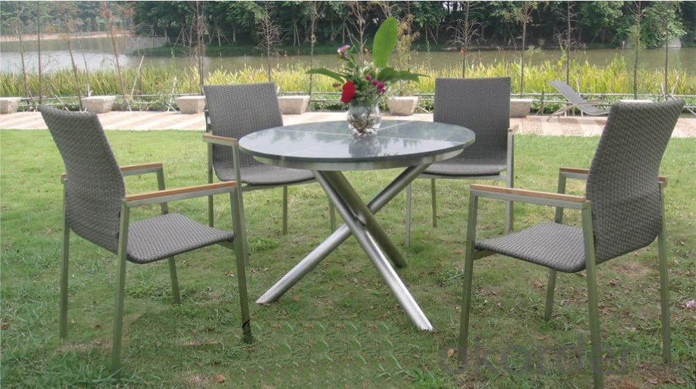 Outdoor Funiture Garden Dinning Set with PS / WPS Plastic Wood & Texitilene