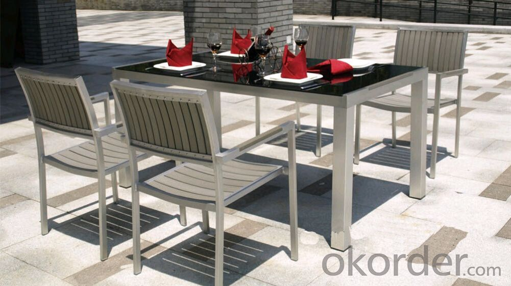 Outdoor Funiture Dining Garden Set with Plastic Wood