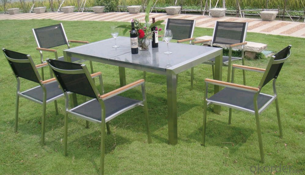 Outdoor Funiture 6 Seaters Chair & Table with PS / WPS Plastic Wood