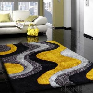 Modern grangually changing color commercial chinese silck shaggy Polyester 3d Carpet