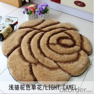 Deep- red big flower pattern home decorative shaggy mat,carpet