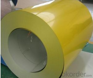 PPGI Color Coated Galvanized Steel Coil in Yellow Color