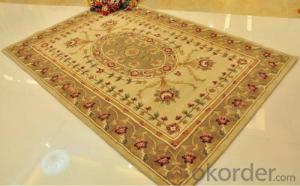 wool hand made carpet with carved patterns