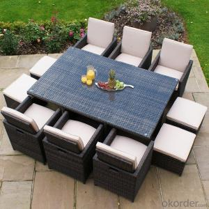 Outdoor Rattan Sofa sets with Stool for Garden Patio Outdoor Furniture CMAX-SS006CQT