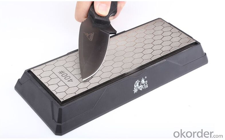 Diamond Coated Knife Sharpener 400#/1000# Sharpening Stone with Holder