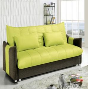 Sofa Sleeper with Yellow and Grey Fabric Cover
