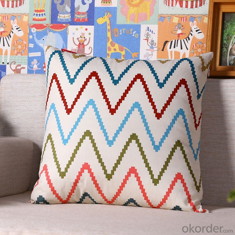 Hot Sale Pillow Cushion Cover with Digital Printed and Stripe Design for Decoration