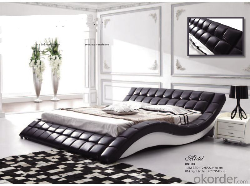 Pu Leather Soft Bed with Strong Wood Frame