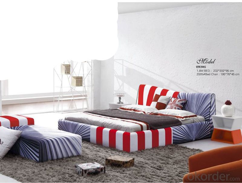 Fabric Soft Bedroom Bed with Nice Pattern