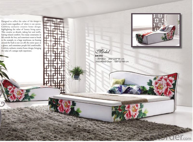 Fabric Soft Bedroom Furniture with Flower Pattern