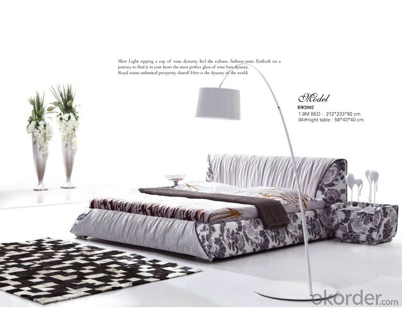 Fabric Soft Bedroom Furniture with Colorful Pattern