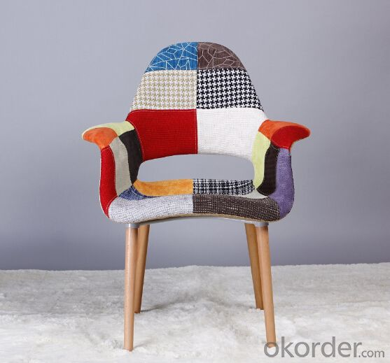 Leisure Eames Chair,Fabric and Peech Wooden