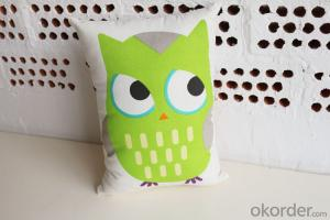 Lovely Pillow Cushion with Green Bird Design for Sofa Decoration